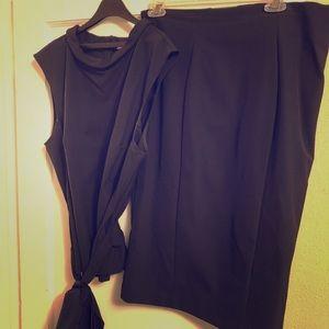 Black Peplum Top w Pencil Skirt
